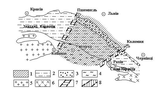 Принципова схема розміщення Лісистих Карпат