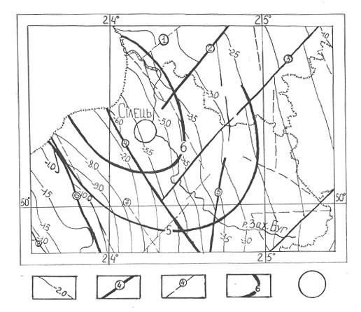 Карта структури фундаменту Сілецької сейсмоактивної зони
